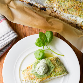 Baked Halibut with Basil Butter
