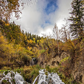 Roughlock Falls, South Dakota by Shauna Rae - Landscapes Waterscapes ( autumn, fall, waterfall, landscape, leaves )