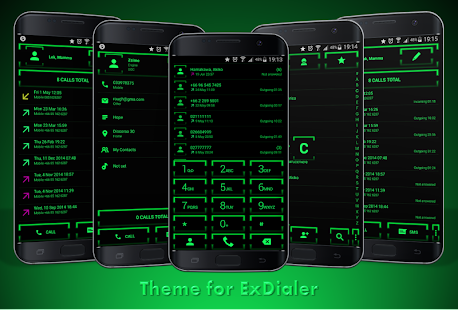 Theme for ExDialer Neon Green - screenshot
