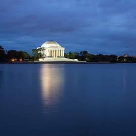 A long exposure of the Jefferson Memorial at Twilight, as seen from across the Tidal Basin.  by Angel McNall - Buildings & Architecture Statues & Monuments ( landmark, washington, blue, district of columbia, blue hour, twilight, jefferson memorial, thomas jefferson, monument, long exposure, d.c., historical, tidal basin )