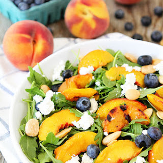 Grilled Peach, Blueberry, and Goat Cheese Arugula Salad