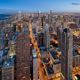 Chicago Blue Hour by John Williams - City,  Street & Park  Night ( skyscrapers, buildings, architecture, cityscape, chicago, nightscape )