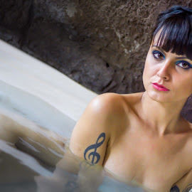 Mia Cherry - bath 2015 by Gabriel Fox - Nudes & Boudoir Artistic Nude ( tub, bathtub, lips, face, tattoo, sensual, sexy, model, portrait, bath, water,  )