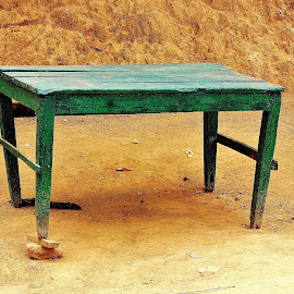 The Table from nowhere ! by Anoop Namboothiri - Artistic Objects Furniture ( orange, red, wooden, green, anoop namboothiri, earth, yellow, table,  )