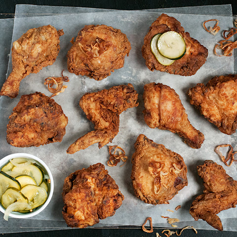 Classic Buttermilk Fried Chicken with Fried Shallots & Sweet Pickles