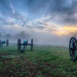 A foggy sunset on the Chancellorsville Battlefield by Theresa Rasmussen - City,  Street & Park  Historic Districts ( canon, battlefield, fog, sunset, chancellorsville, fredericksburg )