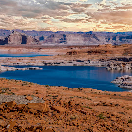 Lake Powell  by Janet Aguila Krause - Landscapes Deserts ( clouds, desert, lake powell, rock formations, arizona )