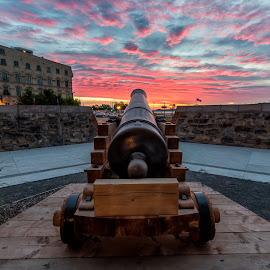 Cannon Sunrise by James Wheeler - City,  Street & Park  Historic Districts ( nobody, old, powder, architecture, travel, heritage, war, historic, cannon, military, city, adventure, ancient, colourful, pink, artillery, lawrence, clouds, defense, memorial, hdr, canada, british, national, quebec city, tourism, leisure, fort, saint, history, tourist, touristic, quebec, red, battle, sunset, weapon, outdoor, historical, sunrise, town, antique, wall, river )