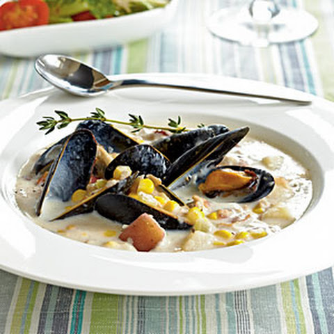 golden mussel chowder with pei seafood chowder seafood chowder mussel ...