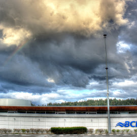 BC Ferry Rainbow by Ernie Kasper - Landscapes Weather ( building, sky, ferry, canada, beautiful, weather, above, cloudscape, architecture, rainbow, bc ferries, british columbia )