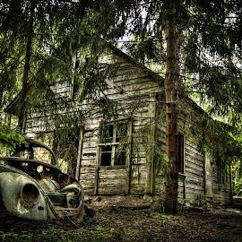 old by Bjørnar Eriksen - Buildings & Architecture Homes ( old house, car, hdr, forest, house )