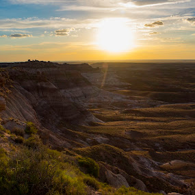 Painted Sunset by John M. Larson - Landscapes Sunsets & Sunrises ( clouds, mountains, desert, northern arizona, color, sunset, arizona, painted desert, canyon, light, sun,  )