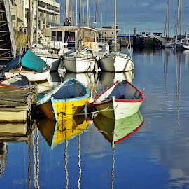 Colors of Binic by Ciprian Apetrei - Transportation Boats ( port, boats, reflections, brittany, transportation )