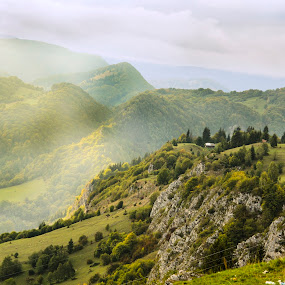 Sunny Misty Shadows by Andreea Alexe - Landscapes Mountains & Hills ( #clouds #color #fog #green #hill #mountain #outdoor #sunrays, , nature, green, color, food, concept )