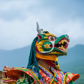 Mask by Tina Lim - Artistic Objects Clothing & Accessories ( costumes, bhutan, colorful, cultural show, mask, people, disguise )