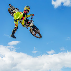 Throwing whips by Josh Rud - Sports & Fitness Motorsports ( clouds, extreme, sky, honda, motocross, tricks, sports, off road, motorcycle, dirt bike, motorsport, whip )