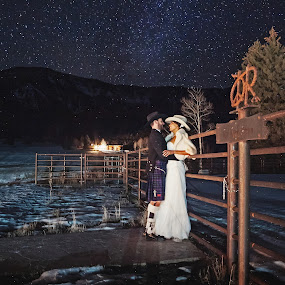 Under the Stars by Debi Tipton - Wedding Bride & Groom ( stars, wedding, night, bride, groom, lights )