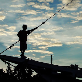 Silhouette by Andreja Novak - People Street & Candids ( water, silhouette, sea, travel, boat, people,  )