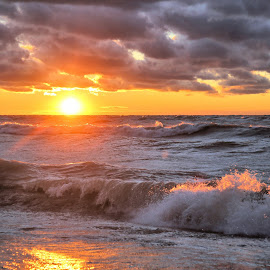 Wind Blew The Sun Down 11 by Terry Saxby - Landscapes Sunsets & Sunrises ( water, canada, terry, huron, sunset, goderich, ontario, lake, saxby, nancy )
