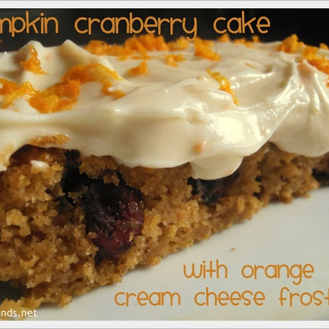 Pumpkin Cranberry Cake with Orange Cream Cheese Frosting