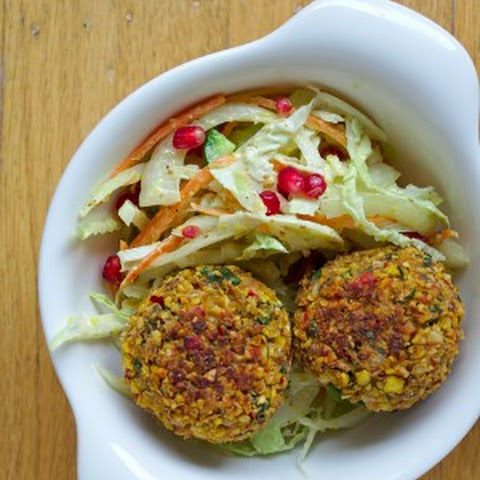 Baked Red Pepper Falafel Bowls with a Pomegranate Slaw