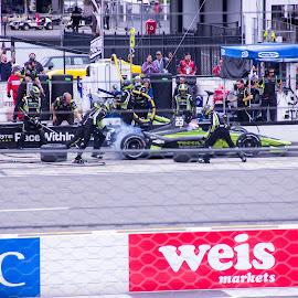 by Art Tilts - Sports & Fitness Motorsports ( pocono, openwheel, indycar, smoke, pit, tire )