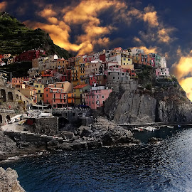Cinque Terre - Manarola by Gérard CHATENET - Digital Art Places