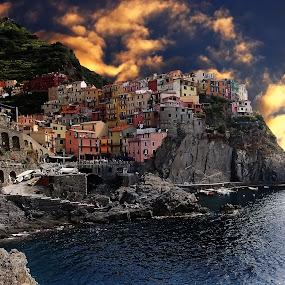 Cinque Terre - Manarola by Gérard CHATENET - Digital Art Places (  )