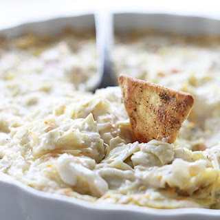 Hot Crab and Cheesy Artichoke Dip