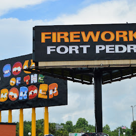 Signs by Thomas Shaw - Artistic Objects Signs ( clouds, sign, pedro, signs, red, sky, neon, bilboard, fireworks, fort, south of the border, black, south carolina )