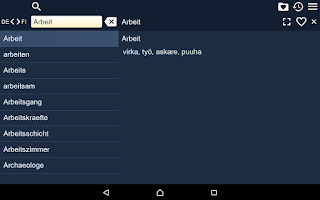 Screenshot of Finnish German Dictionary