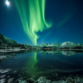 Aurora Borealis by Jens Andre Mehammer Birkeland - Landscapes Mountains & Hills ( reflection, mountain, green, aurora borealis, northern lights, star, reflections, sea, mountains, winter, blue, stars, ice, snow )