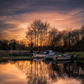 Late In The Evening At The Lakeshore by Willie Forde - Landscapes Waterscapes ( water, ireland, sunset, boats, westmeath, lake, eveninhg )