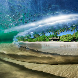 Tropical Wave by Shannon Rogers - Landscapes Underwater ( shannon rogers photography, water, beach hut, sand, shannon rogers, underwater, hut, beach, island, palm, palm tree, tree, wave )