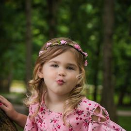 The kiss by Judy Deaver - Babies & Children Child Portraits ( pink, outdoors, portrait, summer )