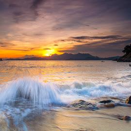 Sunset on Lamma Island by Howard Sheard - Landscapes Sunsets & Sunrises ( lamma island, hong kong, splash, waves, sunset, sea, beach, lamma )