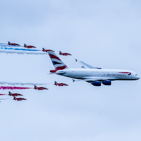A380 & Red Arrows by Sinclair Parkinson - Transportation Airplanes ( red arrows, aeroplane, sinclair parkinson, escort, international, show, aviation, arrows, red, air force, plane, fat spanner photography, a380, aircraft, air, fairford, raf, tattoo, riat 2013, airshow )