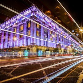 Whoosh!  by Shweta Chauhan - City,  Street & Park  Night ( purple, london, urbanscape, selfridges, long exposure, cityscape, nightscape )