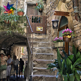 Walking to Apricale by Roberta Sala - City,  Street & Park  Street Scenes ( streetphotography, aricale, street scene, italy, street photography )