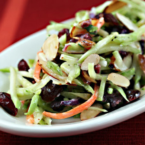 Broccoli Slaw Salad With Cranberries, Almonds, And Yogurt Dressing