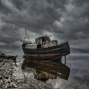 Abandoned Ship by Becky Wheller - Landscapes Waterscapes ( scotland, ship, moody, landscape, abandoned )