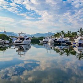 Marina Reflection by John Pounder - Transportation Boats ( paradise village, reflection, mexico, boats, nuevo vallarta, marina )