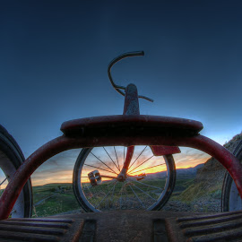 Trike by Eric Demattos - Transportation Bicycles ( red, tricycle, trike, eric demattos, sunset )