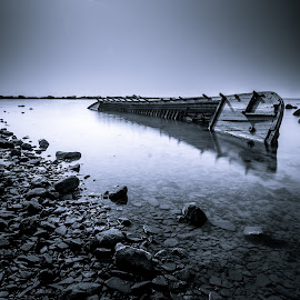 Shipwreck by ArRy Fridiansyah - Transportation Boats ( water, shipwreck, black and white, boats, bw )