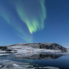 Panoramic arctic lights by Benny Høynes - Landscapes Starscapes ( bluehour, winter, auroras, borealis, northern lights )