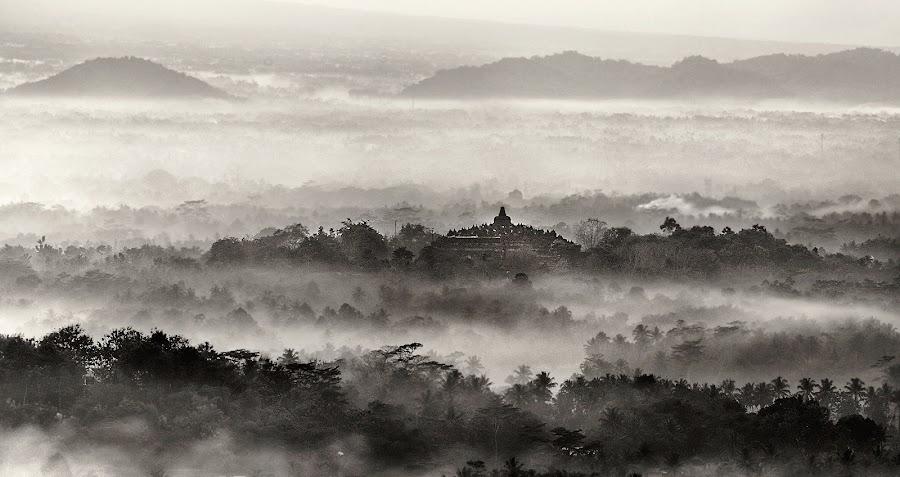 Far Far Away Land by Miko Adji - Black & White Landscapes ( temple, yogyakarta, fog, black and white, indonesia, punthuk setumbu, sunrise, landscape, paradise, borobudur )