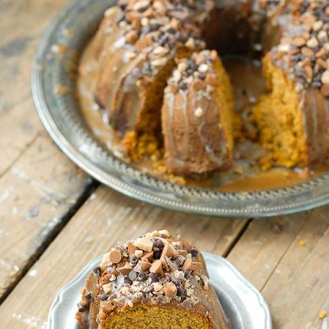 Pumpkin Spice Buttermilk Bundt Cake with Dark Salted Caramel Glaze