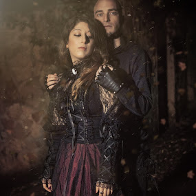 True Love Never Dies | Autumn Shooting by Sabrina Campagna - People Couples ( gothic, wood, leaves, true love never dies, knight, love, sparkles, autumn, foliage, woman, dark, couple, obscure, nikon, man, d5200, true, falling leaves, models, princess, goth, fall, dust, true love, medieval, shooting, sabrina campagna,  )