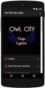 Owl City Top Lyrics - screenshot