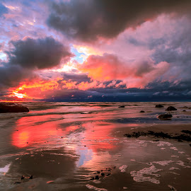 Stormy sunset by Ruslan Bolgov - Landscapes Sunsets & Sunrises ( clouds, reflection, baltic sea, colors, sunset, wave, dramatic, lithuania, storm )